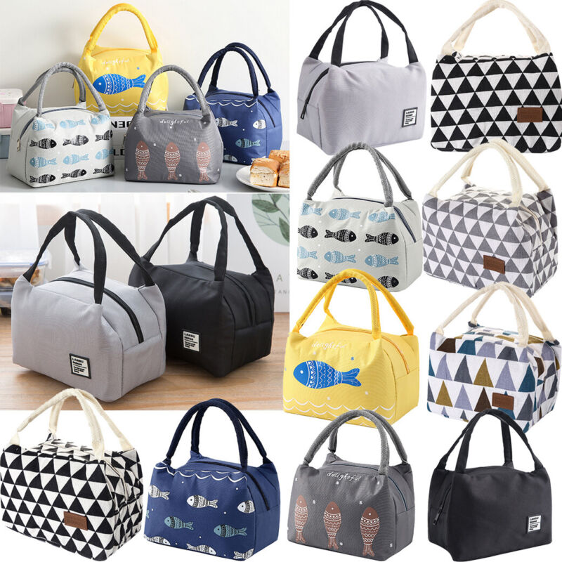 For Women Men Insulated Canvas Box Tote Bag Thermal Cooler F