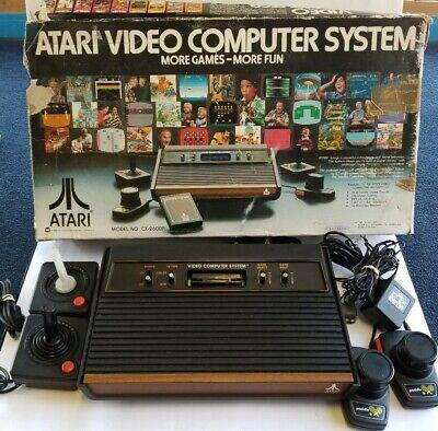 Atari 2600 VCS Video Game Console 4 Switch Woodgrain Lot & 18 Games w Case & Box