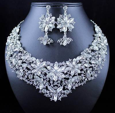 DAISIES CLEAR AUSTRIAN RHINESTONE CRYSTAL NECKLACE EARRINGS SET N12191 SILVER Crystal Daisy Necklace Earrings