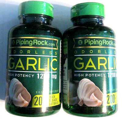 Lot 2 Odorless Garlic Bulb High Potency 1200Mg  400  Softgels Pills Heart Health