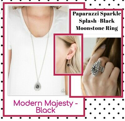 paparazzi jewelry necklace, ring & earring set (Black) ☆Moonstone  Necklace Earring Ring