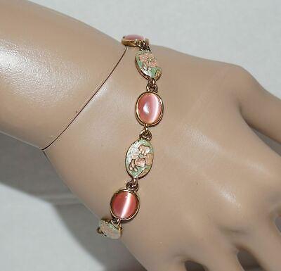 Vintage Cloisonne Pink Cats Eye Bracelet Gold Tone Flower Design Cat Eye Flowers Bracelet
