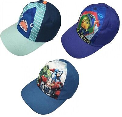 Kids Boys MARVEL AVENGERS PAW PATROL SHARK Baseball Cap Hat Peaked ADJUSTABLE