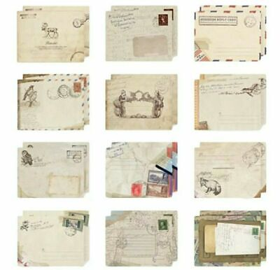 Mini Envelope Set 12 Vintage Style Wedding Kraft Retro Birds Animals Air Mail