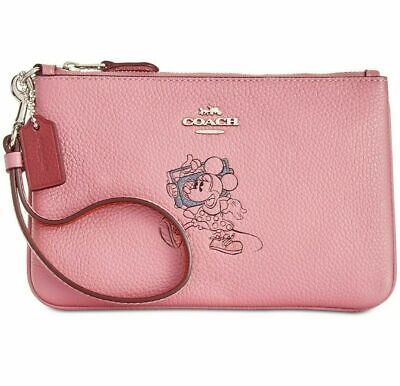 COACH / Disney Minnie Mouse Pebble Leather Small Wristlet - Rose Pink  - Boxed.