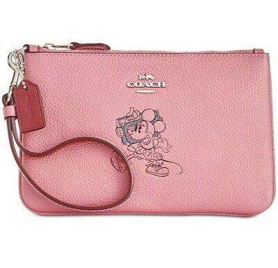 Coach 37540B Disney X Minnie Mouse Zip Wristlet Rose Pink Boxed RRP £80
