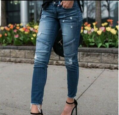 New With Tags Kancan Distressed Moto Jeans Size 3
