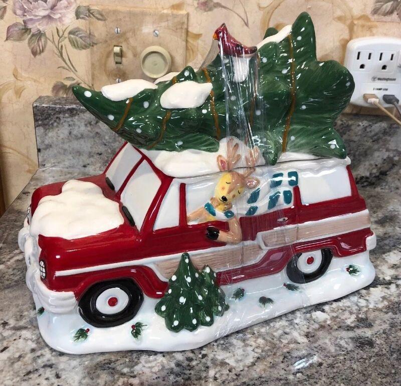 Blue Sky Clayworks Red Station Wagon Reindeer Christmas Tree Ceramic Cookie Jar
