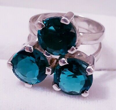 IPPOLITA Style 3 Stone Rock Candy Peacock Quartz Sterling Silver Ring Size 7.5