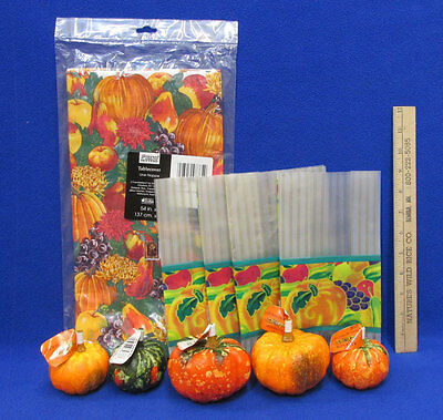 Rectangle Thanksgiving Tablecloth Autumn w/ Paper Mache Pumpkin Gourds Gift Bags](Thanksgiving Paper Tablecloths)