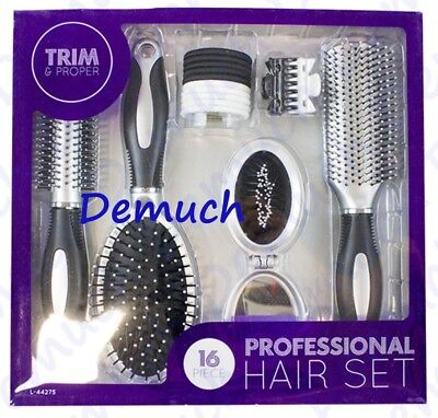 New 16 Piece PROFESSIONAL HAIR SET Salon Styling Brush Comb Mirror Bobbles GIFT