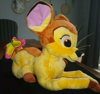 Genuine Disney Bambi Snuggly Large Plush Soft Toy Butterfly Fawn Embroidery EC
