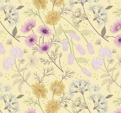 Lewis & Irene 'Botanic Garden' Garden floral on Pale Yellow