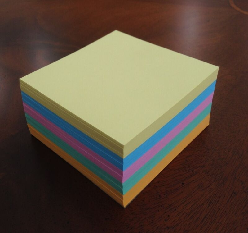 """Refill Note Paper - Loose Replacement Sheets - 3 """" x 3 """"  (5 Colors)"""