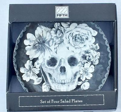 Halloween Marbella Skull Porcelain Salad Dessert Plates Set of 4 by 222 Fifth