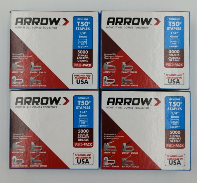 "ARROW T50 1/4"" STAPLES (5041P) 5000 STAPLES (set of 4)"