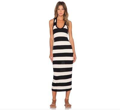 NWT JAMES PERSE Sz 3 L Bar Striped Midi / Maxi Tank Dress Natural Black $205
