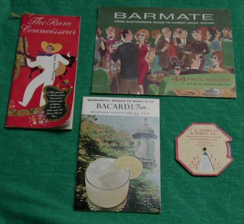 Vintage Lot Drink Recipe Booklet Bacardi & Ronrico Rum + Barmate  Cocktail Dial