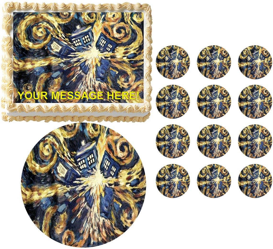 Doctor Who Targis Exploding Party Edible Cake Topper Frosting Sheet All Sizes