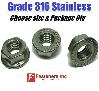 All Sizes Qtys Grade 316 Stainless Steel Serrated Flange Lock Nuts