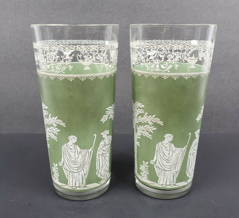 Set of 2 Jeanette Glass Hellenic Green Wedgwood Jasperware 16 oz Flat Tumblers
