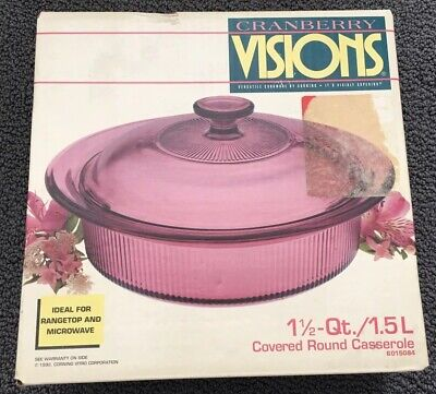 - New Visions Cranberry 1 1/2 Quart 1.5 Liter Covered Round Casserole 6015084 NIB