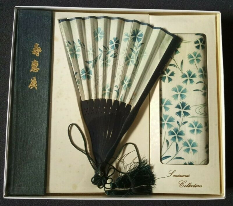 Vintage Japanese Styled Folding Fan w/ Box and Handkerchief | New, Old Stock