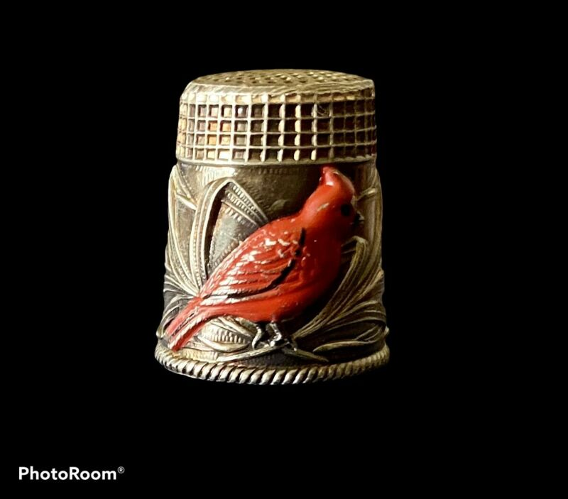 STERLING SILVER THIMBLE RED ENAMEL CARDINAL BIRD & SHAFTS OF WHEAT VINTAGE RARE
