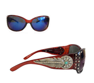 Montana West Ladies Sunglasses Daisy Concho Turquoise Stone Silver Feather (Concho Sunglasses)