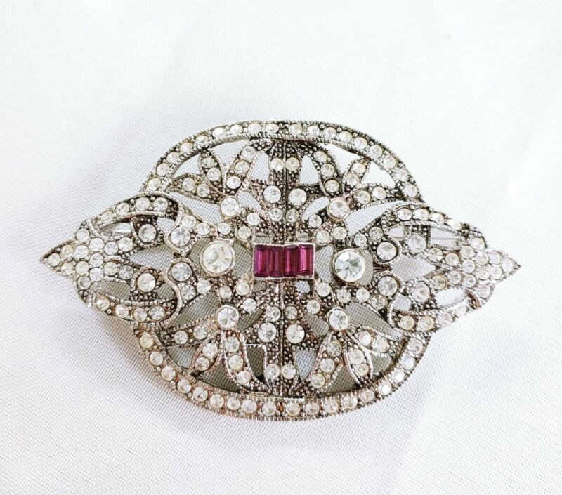 W) vintage Deco Style PURPLE Invisible Baguette  Rhinestone dress Brooch Pin