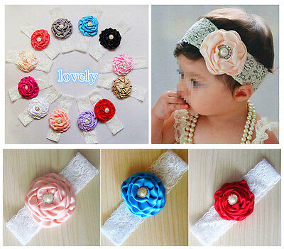 12pcs Flower Baby Toddler Girl Lace Bowknot Headband Hair Band Headwear