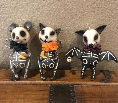 Bethany Lowe Leeann Kress Halloween Skeleton Bat, Cat & Mouse Ornaments—Retired