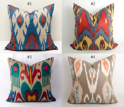 Uzbek Ikat Pillow Cover Cushion Ikat Blue Green Handmade Decorative design ikat Blue Cushion Cover