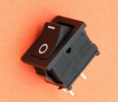 3Pcs 6A//250VAC 10A//125VAC Black Neon Light Illuminated On//Off SPST Rocker·Switch