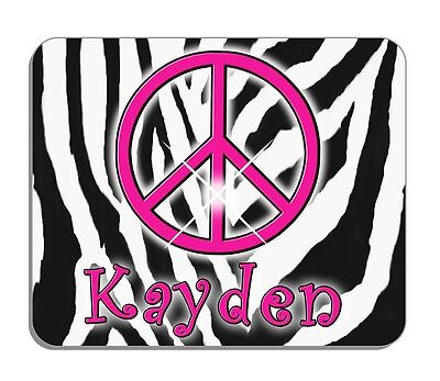 Zebra Peace Sign Mouse Pad Personalize Gifts Girls Teens Hippie Jungle Zebras