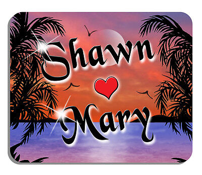 Tropical Multi Color Beach Scene Sunset Mouse Pad Personalize Name Text Color