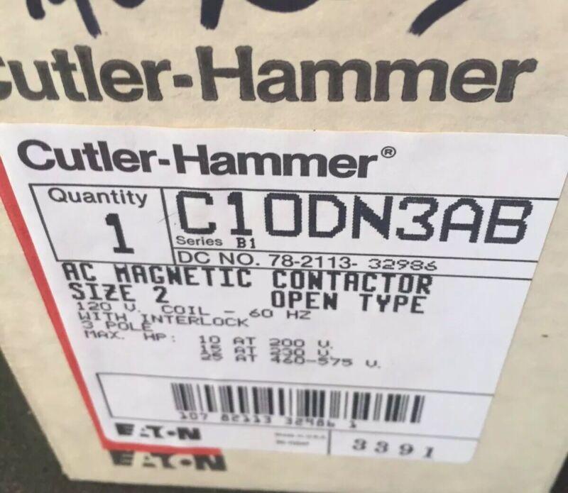 New ! Cutler Hammer C10DN3AB Series B1 NEMA Size 2 45A Contactor 120V Coil