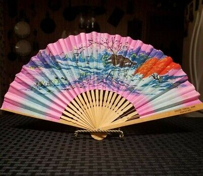 Vintage Bamboo & Colored Paper Hand Held Funeral Home Folding Fan