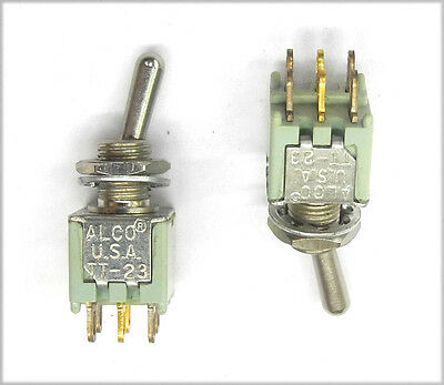 Lot Of 2 Nos Alco Tt23n2t Tiny 2 Pole Submini On-on Switches Round Handle. Ms