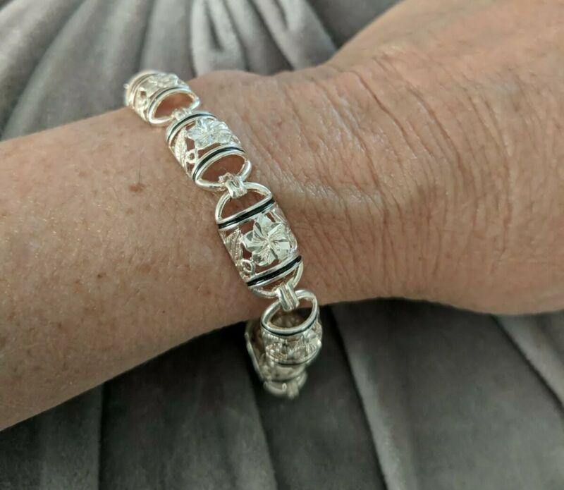"Sterling Silver Plumeria Dome Link Bracelet Black Accent 7.5"""