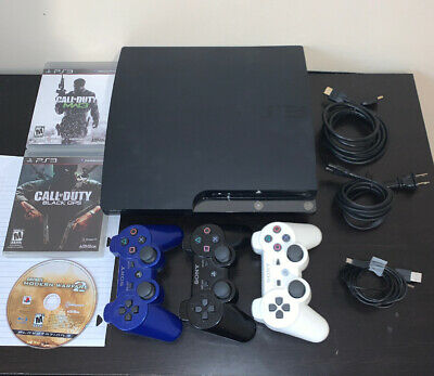 Sony PlayStation 3 Slim 160GB Console Bundle - 3 Games, 3 Controllers - TESTED