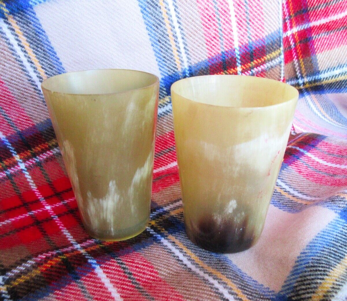 A PAIR Antique Scottish Cow Horn Whiskey Cup Victorian Shot Glasses BLONDE 8 - $67.00