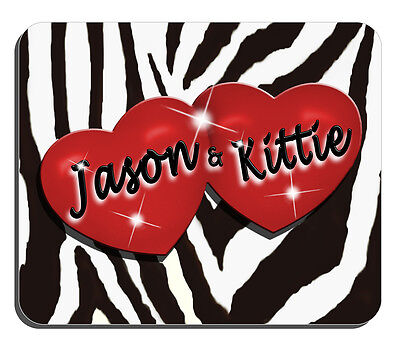 Red Hearts Zebra Design Personalize Mouse Pad Any Name-text In Any Color