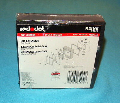 New Sealed Red Dot R2ihe 2-gang Metal Outdoor Electrical Box Extension Ring Gray