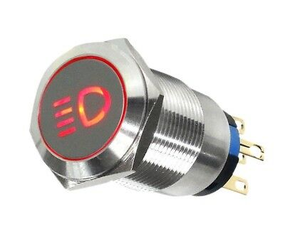 19mm Marine Grade Stainless Steel Push Button Red Led Car Fog Light Switch Usa