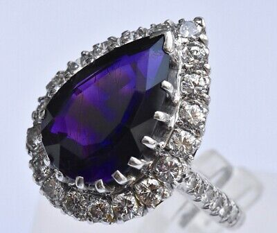Amethyst Diamond Ring 14K