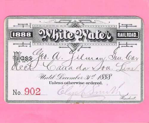 1888 WHITE WATER CANADA SOUTHERN AGENT RAILROAD RR RWY RAILWAY PASS