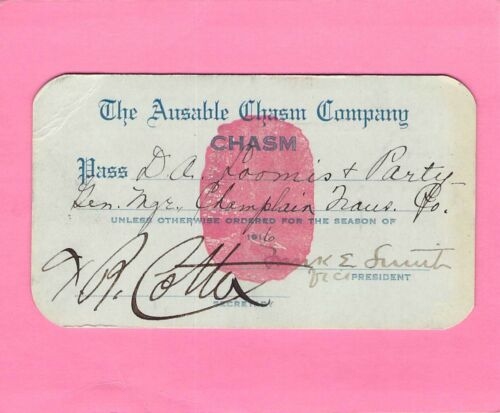 1916 AUSABLE CHASM LAKE CHAMPLAIN NEW YORK RAILROAD RAILWAY RR RWY PASS OTHER