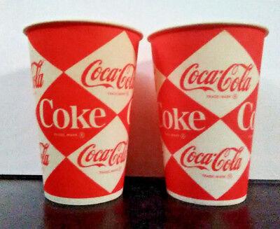 1960's Vintage Coca Cola Diamond Paper Soda Pop Coke Cups x Two (2) NOS Unused