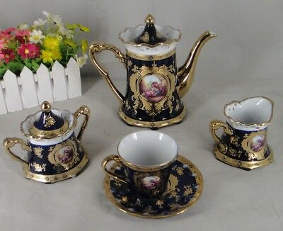 17 pcs Romance Design Tea Set in Cobalt & Gold Floral - For 6 Person Gift Boxed - Personalized Tea Set